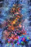 Gifts and Christmas decorations. Next to a glowing Christmas tree royalty free stock photography