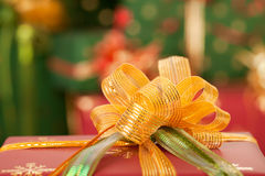 Gifts and christmas lights Stock Image