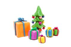 Gifts and Christmas Tree Stock Photo