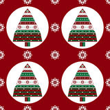 Gifts Christmas tree on red background seamless pattern Stock Images