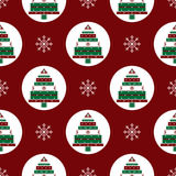 Gifts Christmas tree on red background seamless pattern Stock Image