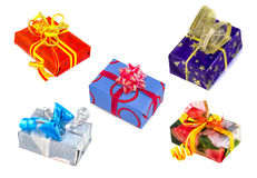 Gifts collection on white background. Royalty Free Stock Photos