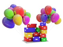 Gifts on color balloons. Royalty Free Stock Photos