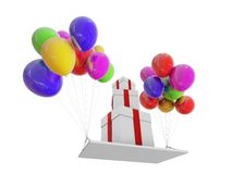 Gifts on color balloons Stock Photography