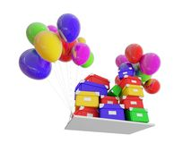 Gifts on color balloons Stock Image