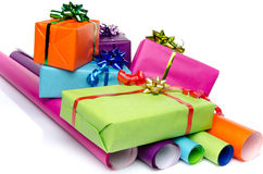 Gifts on color papers Royalty Free Stock Images