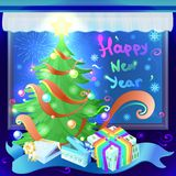 Gifts in colorful boxes as a symbol of the holidays of Christmas Stock Photo