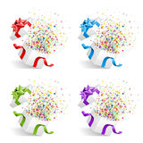 Gifts with confetti. A set of gifts with confetti exploding upon opening Royalty Free Stock Image