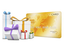 Gifts and credit card Stock Photography