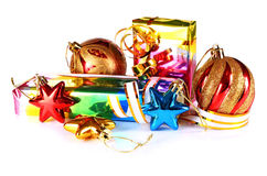 Gifts with decorations for New Year and Christmas Royalty Free Stock Image