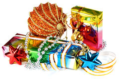 Gifts with decorations for New Year and Christmas Stock Images
