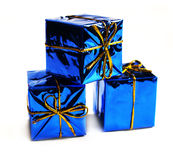 Gifts design. Gifts on a white background. Card design with presents. Small blue boxes Stock Images