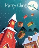 Gifts falling on Christmas eve. Illustration Royalty Free Stock Photo