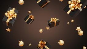 Gifts falling, video presentation of Black Friday and Christmas royalty free illustration