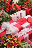 Gifts and flowers Royalty Free Stock Photography