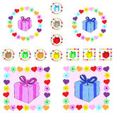 Gifts in flowers and hearts Royalty Free Stock Photography