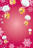 Gifts fly. New Year's gifts fly on a parachute on background with Snowflakes Stock Photos