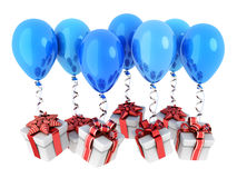 Gifts fly on balloons Stock Photos