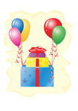 Gifts are flying on balloons Royalty Free Stock Photo
