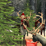 Gifts  in  the forest. 3d ending ring  of a Christmas scene in the forest with reindeers,  elf and gifts as illustration Royalty Free Stock Photo