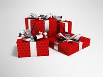 Gifts of four in a paper red label with a bow gray in front 3d r. Gifts for the holiday, four gifts for the new year, souvenirs for gifts, gifts in a paper bag Royalty Free Stock Photography
