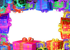 Gifts frame. A frame of colorful gifts Royalty Free Stock Photos