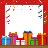 Gifts Frame with Streamers & Confetti Royalty Free Stock Photo