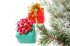 Gifts on fur-tree branches Stock Photography