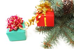 Gifts on fur-tree branches Royalty Free Stock Photography