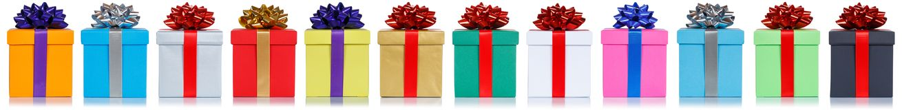 Gifts gift christmas birthday presents in a row isolated on white background