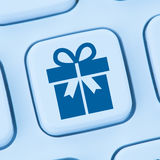 Gifts gift present online shopping ordering internet shop blue c. Omputer web keyboard Royalty Free Stock Images
