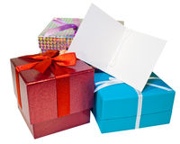 Gifts and gift tag (Copy space) Royalty Free Stock Photography