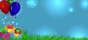 Gifts on grass with balloons Royalty Free Stock Photo