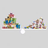 Gifts and heap of letters balance. 3D Stock Images