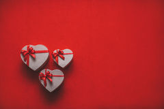 Gifts heart with red ribbon space for text. Stock Photo
