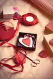 Gifts and heart shape toys Royalty Free Stock Images