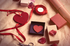 Gifts and heart shape toys Royalty Free Stock Photography