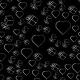 Gifts and hearts on a black background, seamless pattern. illustration. stock illustration