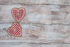 Gifts, hearts, bows and ornaments on wooden table. Valentines Day Royalty Free Stock Images