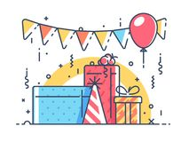 Gifts for holiday with balloon Stock Images