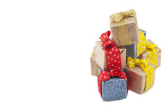 Gifts for the holiday. Gifts in colorful package isolated on holiday Stock Images