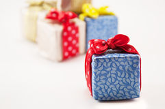 Gifts for the holiday. Gifts in colorful package isolated on holiday Stock Photography