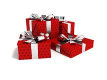 Gifts of four in a paper red label with a bow gray in front 3d r. Gifts for the holiday, four gifts for the new year, souvenirs for gifts, gifts in a paper bag Stock Photography