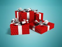 Gifts of four in a paper red label with a bow gray in front 3d r. Gifts for the holiday, four gifts for the new year, souvenirs for gifts, gifts in a paper bag Stock Image