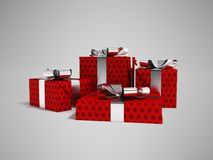 Gifts in a paper red label with a black bow 3d render on a gray. Gifts for the holiday, four gifts for the new year, souvenirs for gifts, gifts in a paper bag Stock Images