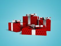 Gifts in a paper red label with a black bow 3d render on a blue. Gifts for the holiday, four gifts for the new year, souvenirs for gifts, gifts in a paper bag Stock Image