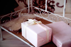 Gifts for holiday. Holidays Christmas, birthday, Valentine's Day Stock Images