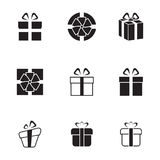 Gifts icons. Set of isolated black icons on a theme gifts vector illustration