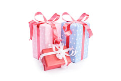 Gifts isolated on white. Background Stock Photos