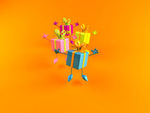 Gifts jumping Royalty Free Stock Photo